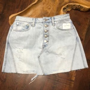Free People Button Fly Jean Skirt